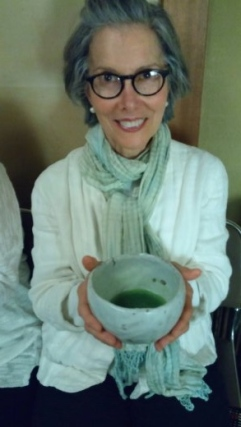 Auntie Esta with her matcha tea to be drunk out of tea bowl made by Japan potter, Shigemasa Higashida.