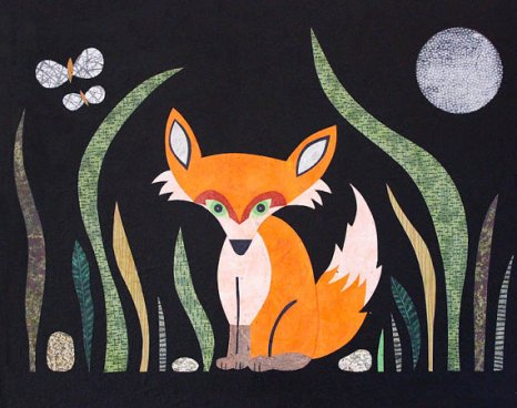 Foxy Midnight with Moth and Moon