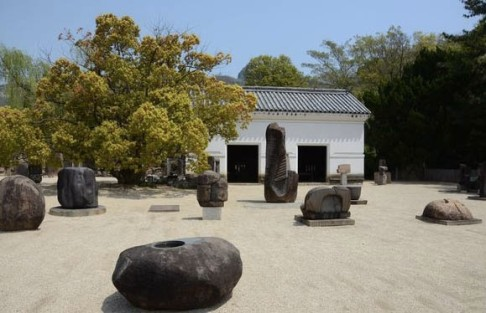 Outside of the Isamu Naguchi Museum in Naoshima.